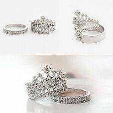 2 Pezzi Set Anelli Corona Principessa Regina Donna Gioielli Argento Ring Regalo