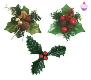 Christmas Holly Cake Decoration Topper Berries Baking