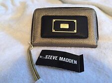 Steve Madden Women's Black -Pewter Cell Phone Case Wallet Clutch New