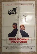 1981 FIRST MONDAY IN OCTOBER Original Movie Poster 1-SH FVF 7.0 Walter Matthau