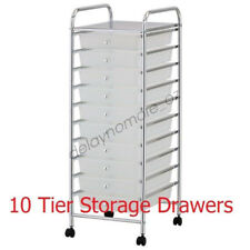 White 10 Tier Drawer Trolley Storage Metal Shelve Plastic Tray Wheel Cabinet