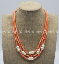 White Baroque Pearl Gems Beads Necklace Natural 3 Rows 4mm Orange Coral &10x15mm