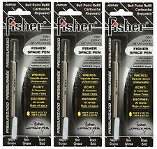 THREE Fisher SPR Series Black Ink / Bold Point Refills #SPR4B