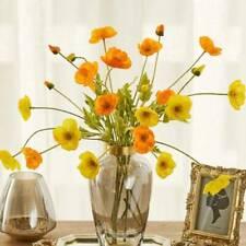 4 Heads Artificial Poppy Flowers Silk Flower Stem Bouquet Home Wedding JlXiR