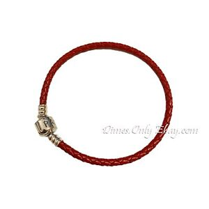 Authentic Pandora Single Woven Red Braided Leather Bracelet 590705CRD 3 Sizes