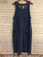 True Blue Small Midi Overall Blue Jean Jumper Dress Sleeveless Pockets Slit