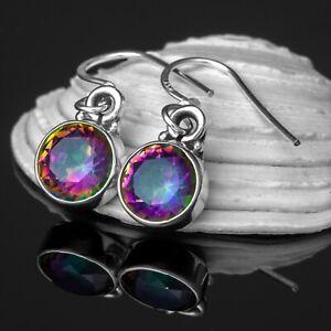 925 Sterling Silver Mystic Fire TOPAZ Drop Dangle Earrings Hook Ear Studs Boxed