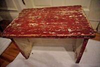 VINTAGE SHABBY RED CHIPPY CREME STOOL