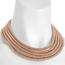 Graduated five layers rose gold choker rope chain necklace with magnetic clasp