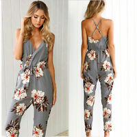Womens Floral V Neck Off Shoulder Holiday Playsuit Casual Summer Beach Jumpsuit