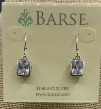 Barse Glisten Earrings- Clear Quartz Crystal Squares- 92.5 Sterling Silver- New