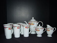 Pristine Pegasus Fine Porcelain Coffee Tea Set-Service for 8 with Cream & Sugar