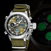 OHSEN Mens LED Digital Waterproof Canvas Analog Military Army Sport Wrist Watch