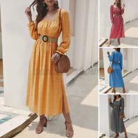 ZANZEA Womens Long Dress Baggy Elegant Long Sleeve Polka Dot Kaftan Maxi Dress