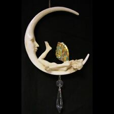 GORGEOUS Fairy hanging on moon with crystals - Great gift