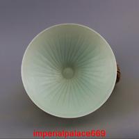China antique Song dynasty Hutian kiln stripe Celadon Bamboo hat bowl