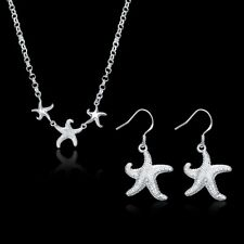 Fashion 925Sterling Solid Silver Starfish Earrings Necklace Jewelry Sets S909