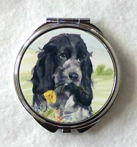 COCKER SPANIEL ROAN DOG HANDBAG COMPACT MIRROR WATERCOLOUR PRINT SANDRA COEN ART