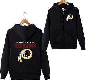Washington Redskins Sports Hoodies Zip-up Sweatshirt Hooded Coat Jacket Gifts