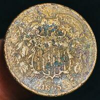 1865 US Two Cent Piece 2C High Grade Details Civil War Era US Copper Coin CC3628