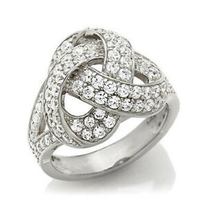 HSN Jean Dousset 1.96 Ct Absolute Knot Sterling Silver Ring Size 7