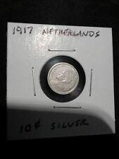 "1917   ""UNCIRCULATED""   Queen Wilhelmina Netherlands 10 Cents Silver"