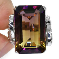 MULTI COLOR AMETRINE EMERAL RING SILVER 925 UNHEATED 19.4 CT 21X13 MM SIZE 6