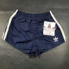 Vintage Adidas Trefoil Boys Youth M 24-26 Navy Blue Running Shorts Nylon NWT USA