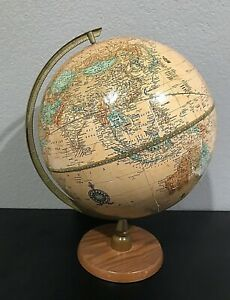 Vintage Crams Imperial World Globe On Wood Base Stand Tabletop Desk Decor 12""