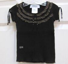 Euro RYKIEL ENFANT Sonia BABY TOP Ribbed BLACK LACE TRIM Tee Tshirt 24mo CRYSTAL