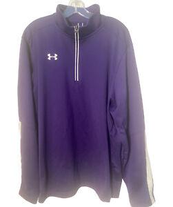 Under Armour Jacket Men's XXL Loose Gear Pullover 1/4 Zip Purple Running Casual