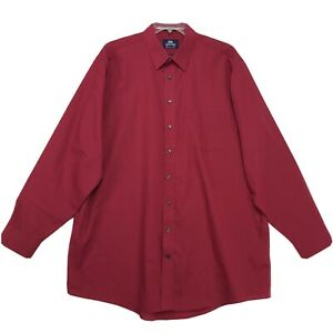 Stafford Wrinkle Free Shirt Mens Sz 18.5 38 39 X Tall Red Long Sleeve Button Up