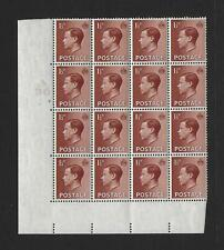1936 Edward Viii 1.5d Cyl 2Nd A/36 Cyl Blk of 16 Unmounted mint