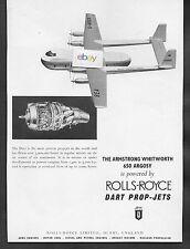 BEA BRITISH EUROPEAN 1958 ARMSTRONG WHITWORH ARGOSY 650 FREIGHTER ROLLS ROYCE AD