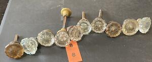 Lot of 10 vintage antique glass Crystal 12 Point Side Door Knobs For Restoration