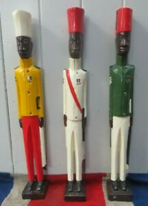 3 HAND CARVED AFRICAN COLONIAL ASKARI WOODEN SOLDIERS PRIMATIVE FOLK ART