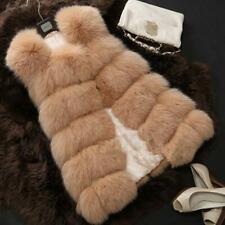 Winter Women Coat Faux Fox Fur Fluffy Vest Hi-Q Sleeveless Jacket Waistcoat Hot