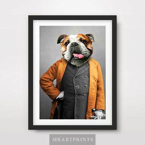BULLDOG QUIRKY ANIMAL PORTRAIT Art Print Poster Bizarre Funny Dog Lover Vintage
