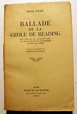 OSCAR WILDE/BALLADE DE LA GEOLE DE READING/MERCURE DE FRANCE/1947/DANDY