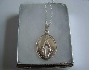 New Sterling Silver 925 Miraculous medal pendant chain 18ins gift box.