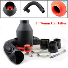 "Universal 3"" Car Filter Box Title Carbon Fiber Induction Ram Air Intake System"