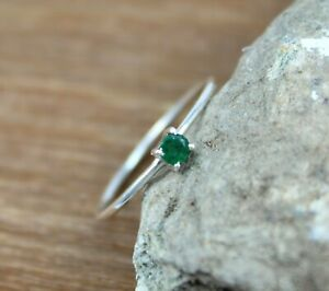 Natural Emerald Simple Ring Tiny Ring 925 Sterling Silver Handmade Jewelry 3 MM