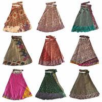 Recycled Wrap Around Skirts Women Beach Wear Indian Vintage Wholesale Silk Sari