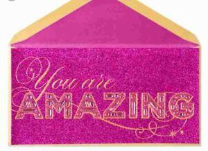 PAPYRUS GEMMED GLITTER YOU ARE AMAZING BIRTHDAY CARD RHINESTONES