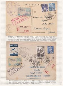 France Two 1946 Air France First Flight Card and Cover Bron - Le Bourget.