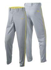 Nike Men's Swingman Dri-Fit Piped Baseball Pants Grey Yellow NWT S Small $40 New