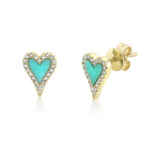 Turquoise Diamond Heart Stud Earrings 14K Yellow Gold 0.49 TCW Love Valentines