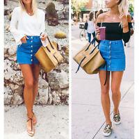 Fashion Women Lady Button Denim Skirt High Waist Bodycon Slim Pencil Short  jean