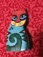 """4 1/2"""" Tall Cat Figurine Wood Hand Painted Figure Kitten Kitty Carved Colorful"""