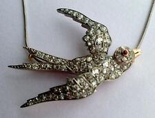Ruby Wedding Flying Bird Pendant Victorian 1.76ct Rose Cut Diamond